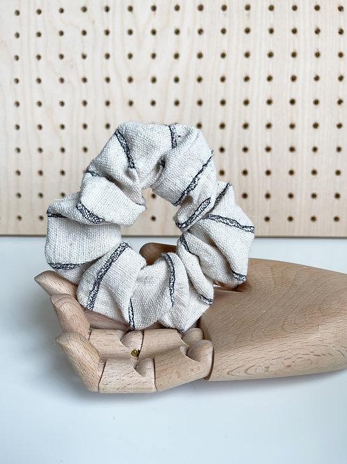 Ivory Black Patterned Scrunchie