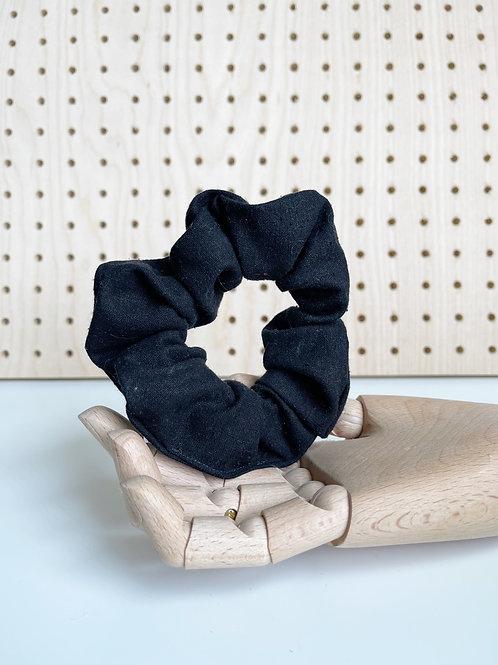 Black Raw Silk Scrunchie