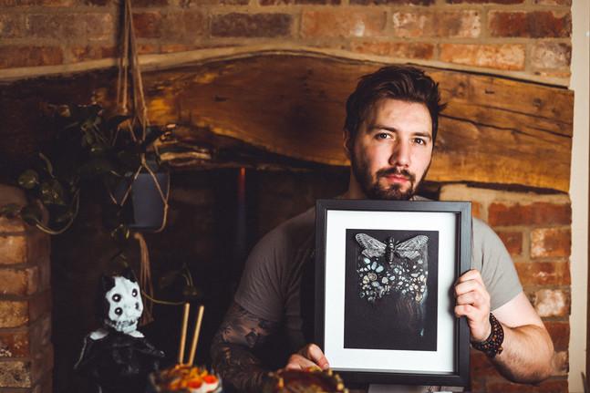 Medium Gothic Black Death Head Hawk Moth