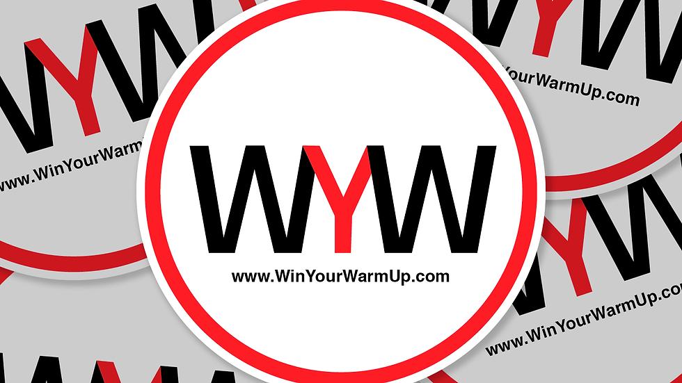 Win Your Warm Up logo sticker