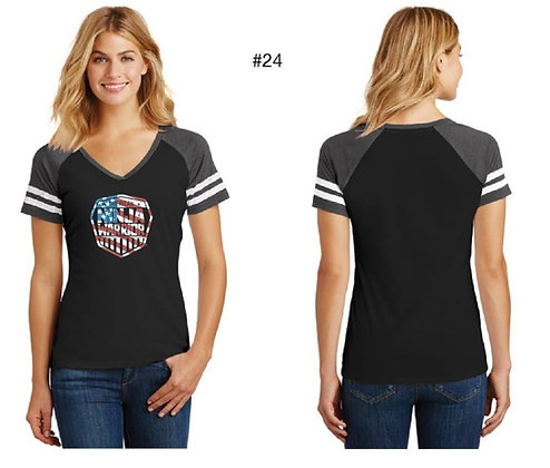 American Ninja Warrior Women's T-Shirt  (Black and Gray American Flag)