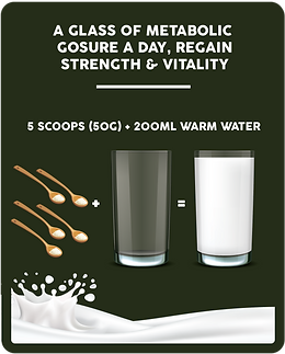 How to use Metabolic Gosure: Add 5 scoops in 200ml of warm water, stir well and serve. A glass of Metabolic Gosure a day, regain strength and vitality