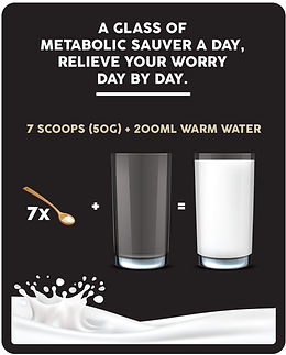 How to use Metabolic Sauver: Add 7 scoops in 200ml of warm water, stir well and serve. A glass of Metabolic Sauver a day relieve your worry day by day.