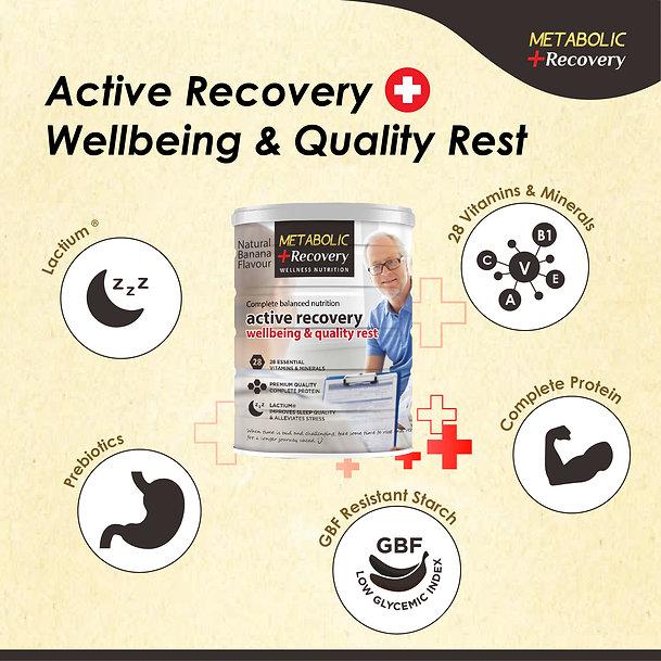 metabolic recovery ingredient: lactium, prebiotics, gbf resistant starch, complete protein, 28 vitamins & minerals