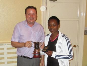 Ann Bean with George Becton Trophy