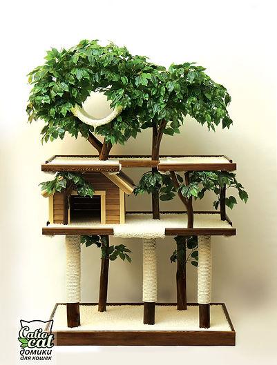 большое дерево для кошки или кота с деревянным домиком, гамаком и тремя когтеточками