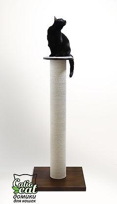 когтеточка для крупных пород кошек из дерева с белым канатом