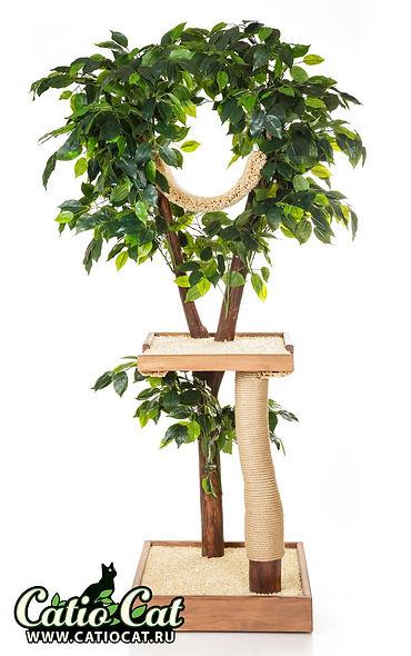дерево для кошки с листвой