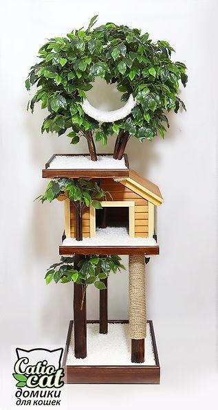 дерево для кота с деревянным домиком с когтеточкой.