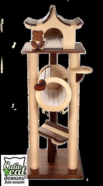 деревянный домик для кошки или кота с домиком