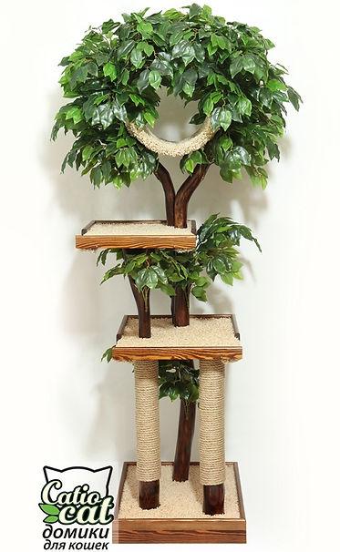 кошачье дерево, дерево для кота, с листвой, из дерева