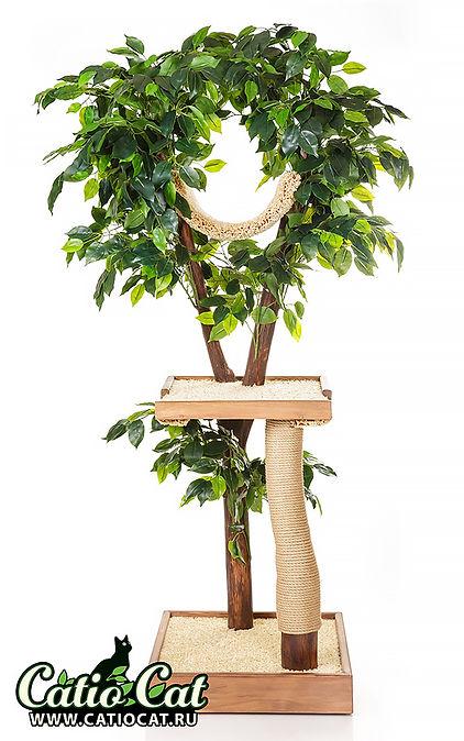 Дерево для кошки с искусственной листвой из дерева