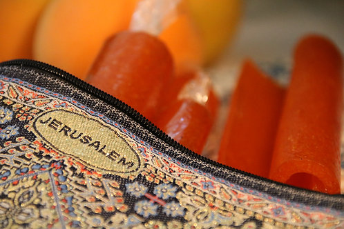 Jerusalem Gift: A Bag With Apricot Leder (Fruit Leather). 4 Rolls