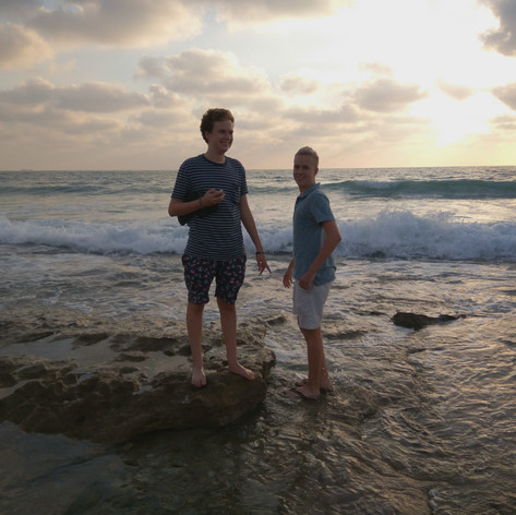 Maxwell and David walk from Acre to Bustan Hagalil