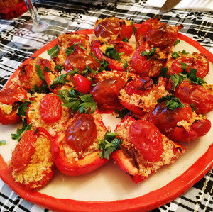 Peppers, Parmesan and Tomatoes