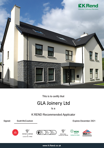 K-Rend Certificate for GLA Joinery 2021