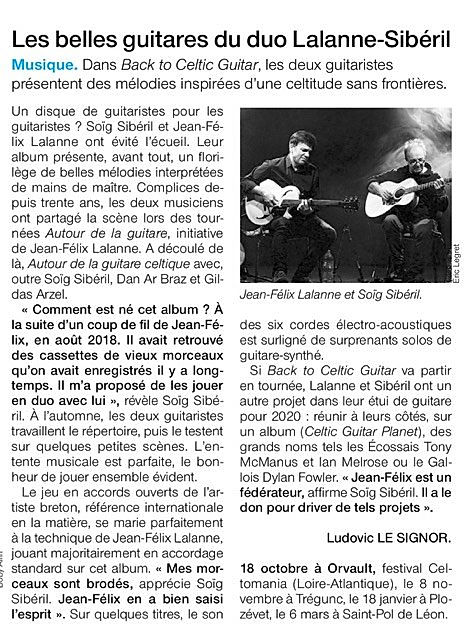 Back to Celtic Guitar_Ouest France oct 2