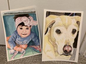 Custom Portraits in Gouache on Paper