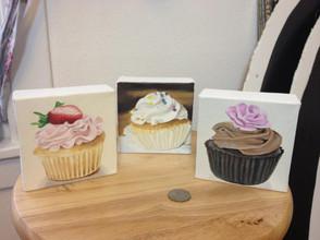 3 Mini Cupcake Oil Paintings