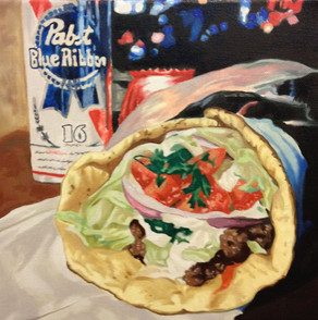 Kebab and Beer Oil Painting Commission