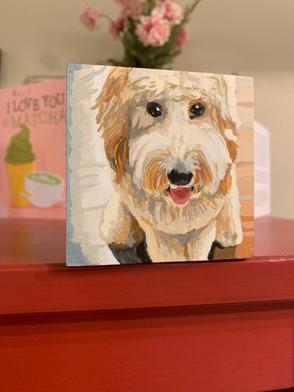 Custom Dog Mini Painting on Wood Block
