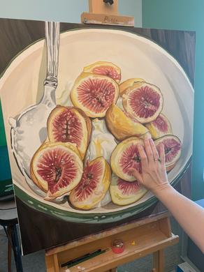 Yogurt, Figs, and Honey Painting - Acryl Gouache on Canvas