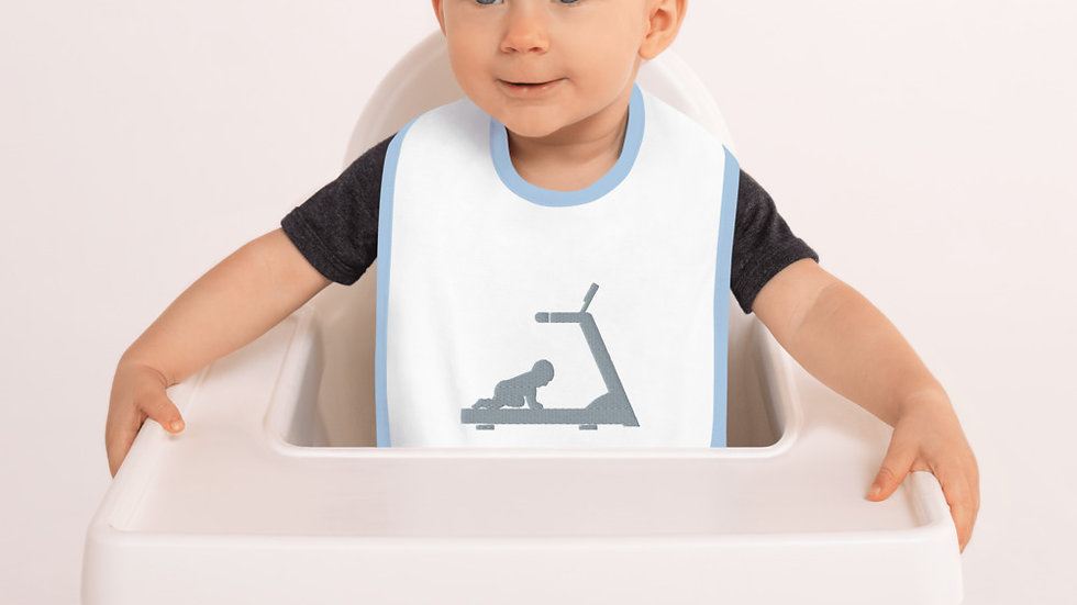Embroidered Baby on a Treadmill Bib