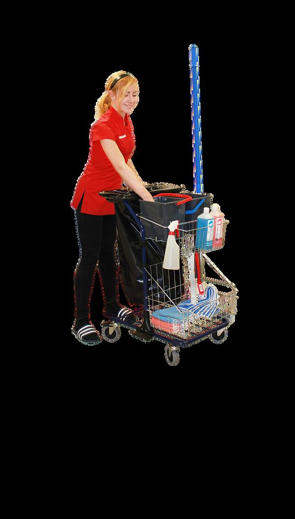 Siivooja ja siivouskärryt siivouksessa
