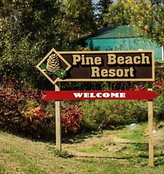 Sign for Pine Beach Resort-Side Lake