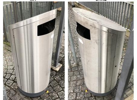 """Schluss mit verschmutzten """"Edelstahl-Abfallbehältern"""""""