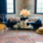 Vintage blue velvet sofa_Wedding lounge_