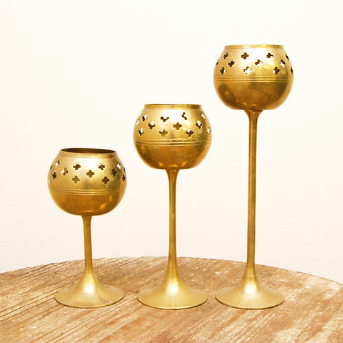 Brass Tea Light Trio