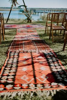vintage persian rug aisle_wedding ceremo
