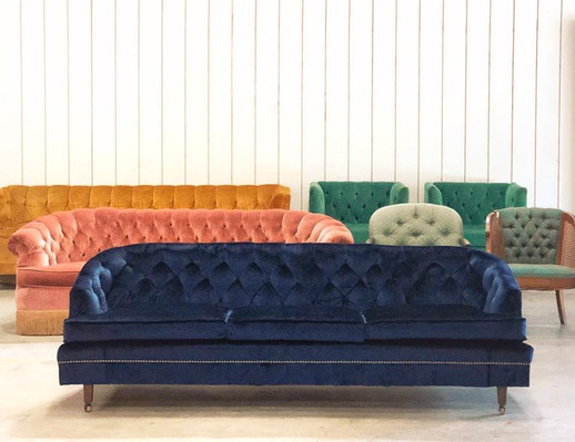 Velvet midcentury vintage sofas_event rentals charleston_The French Eclectic