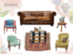 Brown leather tufted vintage sofa / Event Lounge