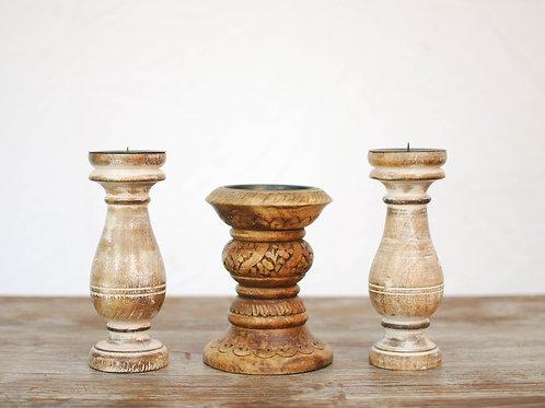 Wood Pillar Candleholders