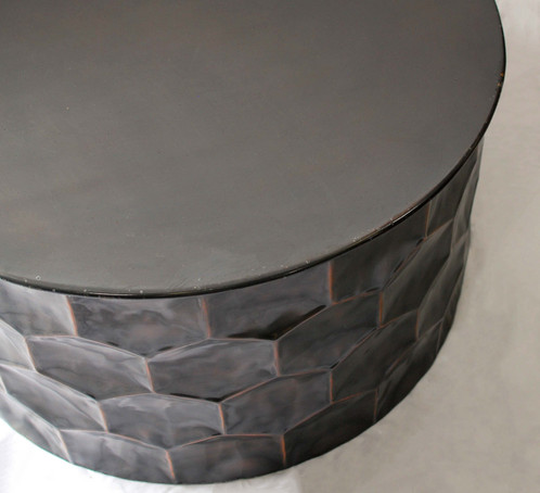 The Geo Round Coffee Table Features A Dark Brown Metal Frame With Hammered  Geometric Sides With Hints Of Copper Highlights.