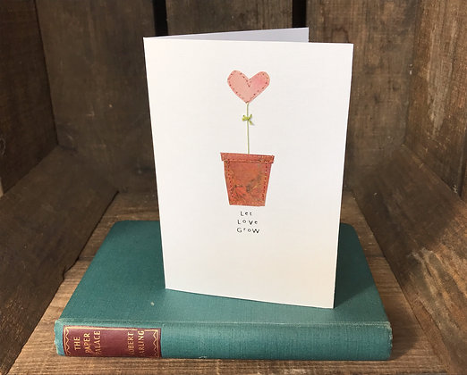 Let Love Grow Greeting Card (Pink Heart)
