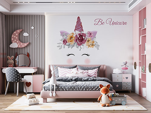 Licorne aquarelle mauve