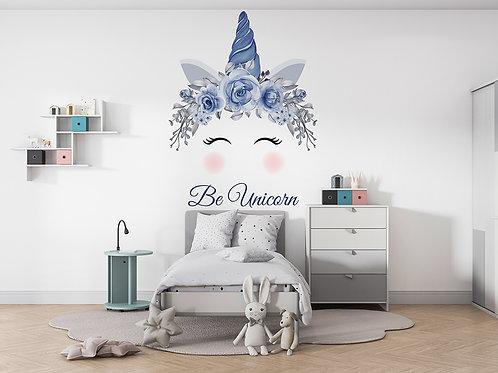 Licorne aquarelle bleu