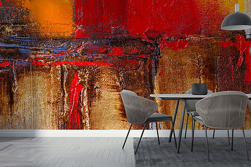 Peinture rouge et or