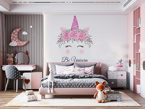 Licorne aquarelle rose