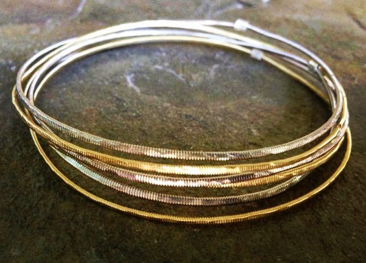 hammered guitar string bangles