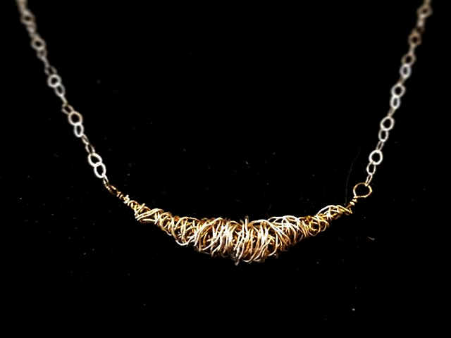 tangled guitar string short necklace
