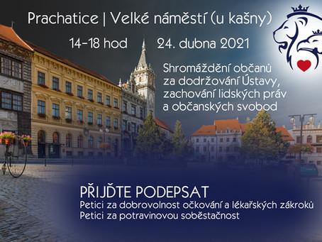 Pozvánka: Shromáždění za dodržování Ústavy, zachování lidských práv – 24.4.2021 od 14:00 -PRACHATICE