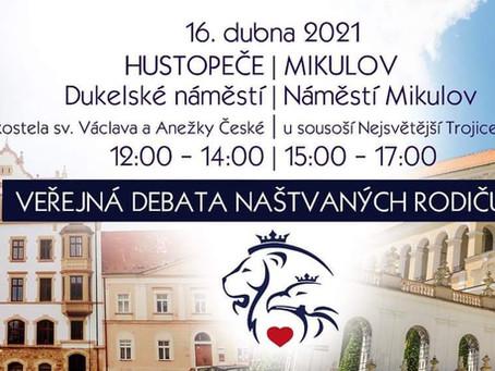 Pozvánka: Veřejná debata naštvaných rodičů – 16. 4. 2021 od 12:00 - HUSTOPEČE - MIKULOV