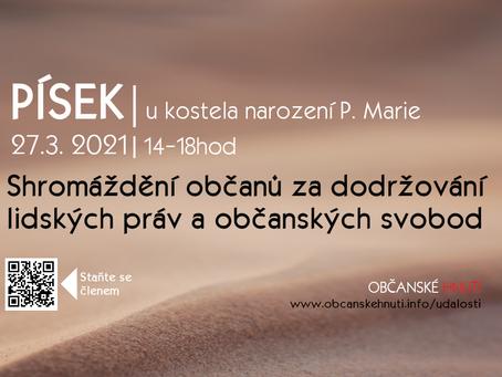 Shromáždění občanů za dodržování lidských práv a občanských svobod – 27. 3. 2021 od 14:00 - PÍSEK