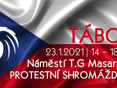 Pozvánka: Protestní shromáždění proti vládním opatřením – 23. 1. 2021 od 14:00 TÁBOR