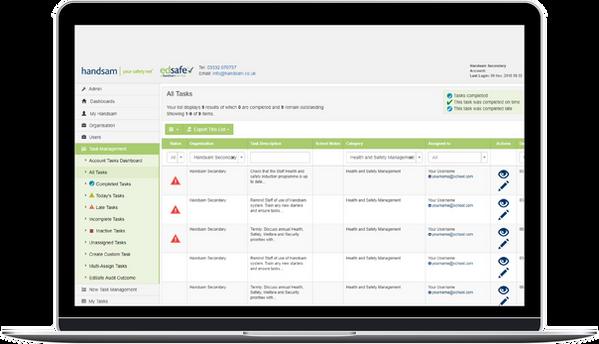 Health and Safety Tasklist Screenshot on