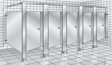 overhead braced toilet partition